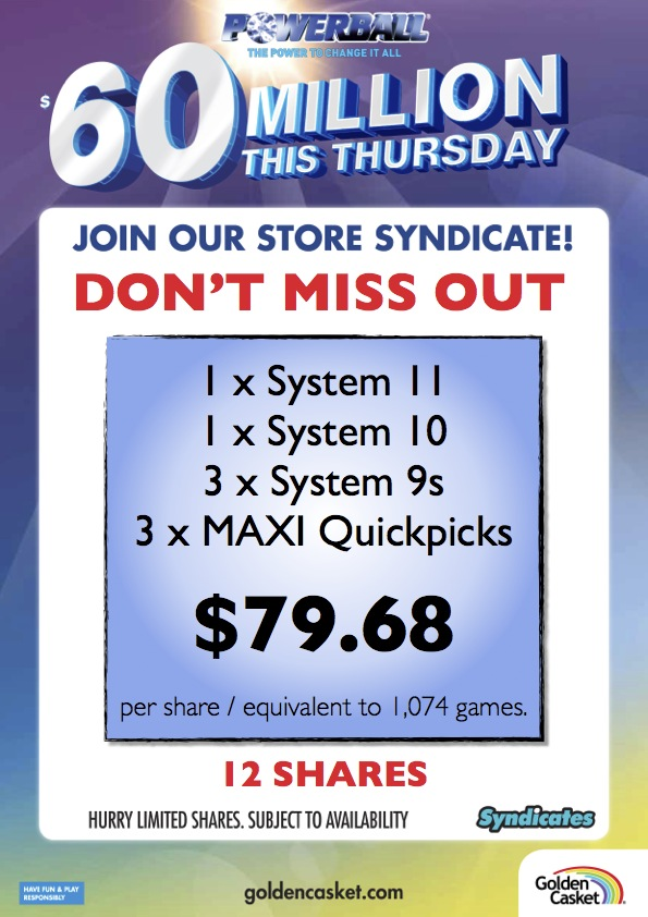 Join our GREAT syndicate for Powerball's $60 Million jackpot. Only $79.68 per share!