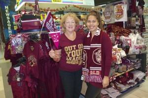 Colleen and Cassie with QUEENSLANDERS merchandise
